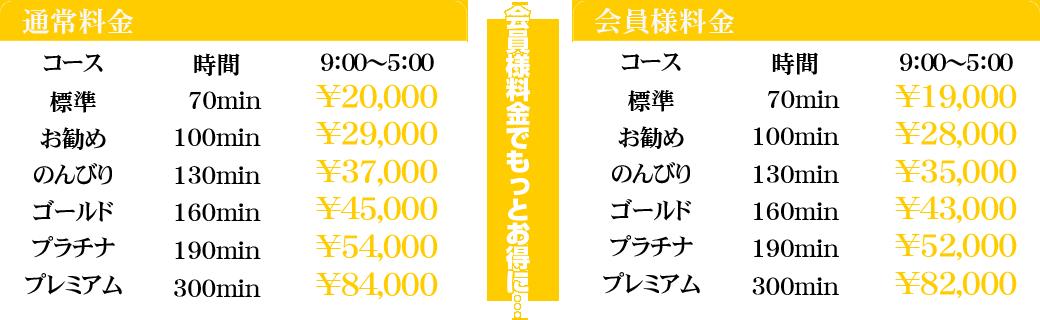 千葉風俗・千葉市発デリヘル風俗【キャンパスサミット千葉店】コース料金